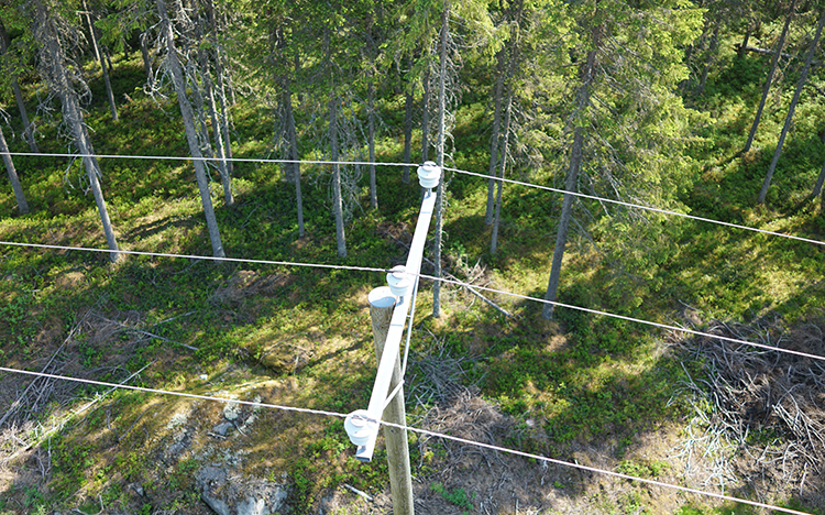 Powerline tower in forested area - aerial view
